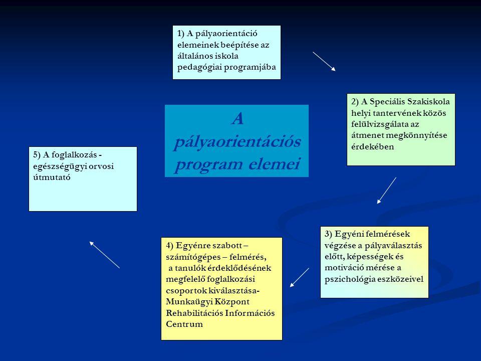 1) A pályaorientáció elemeinek beépítése az általános iskola pedagógiai programjába 3) Egyéni felmérések végzése a pályaválasztás előtt, képességek és motiváció mérése a pszichológia eszközeivel 4) Egyénre szabott – számítógépes – felmérés, a tanulók érdeklődésének megfelelő foglalkozási csoportok kiválasztása- Munkaügyi Központ Rehabilitációs Információs Centrum 5) A foglalkozás - egészségügyi orvosi útmutató A pályaorientációs program elemei 2) A Speciális Szakiskola helyi tantervének közös felülvizsgálata az átmenet megkönnyítése érdekében