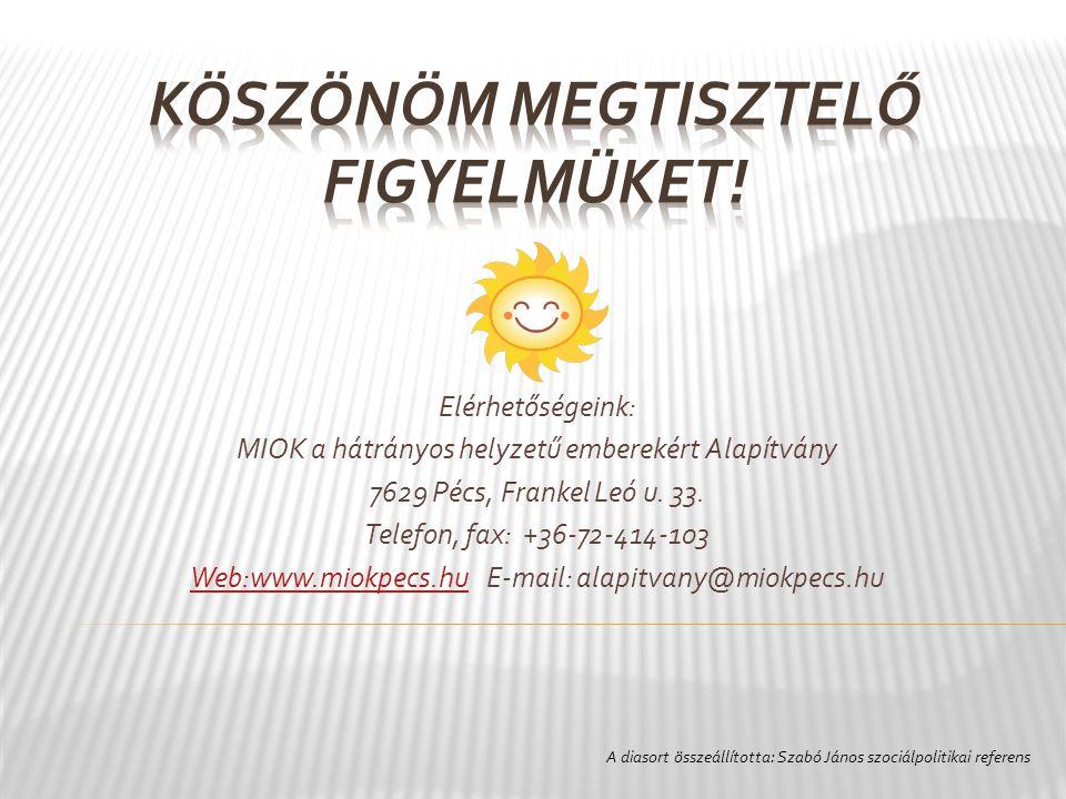 Elérhetőségeink: MIOK a hátrányos helyzetű emberekért Alapítvány 7629 Pécs, Frankel Leó u.