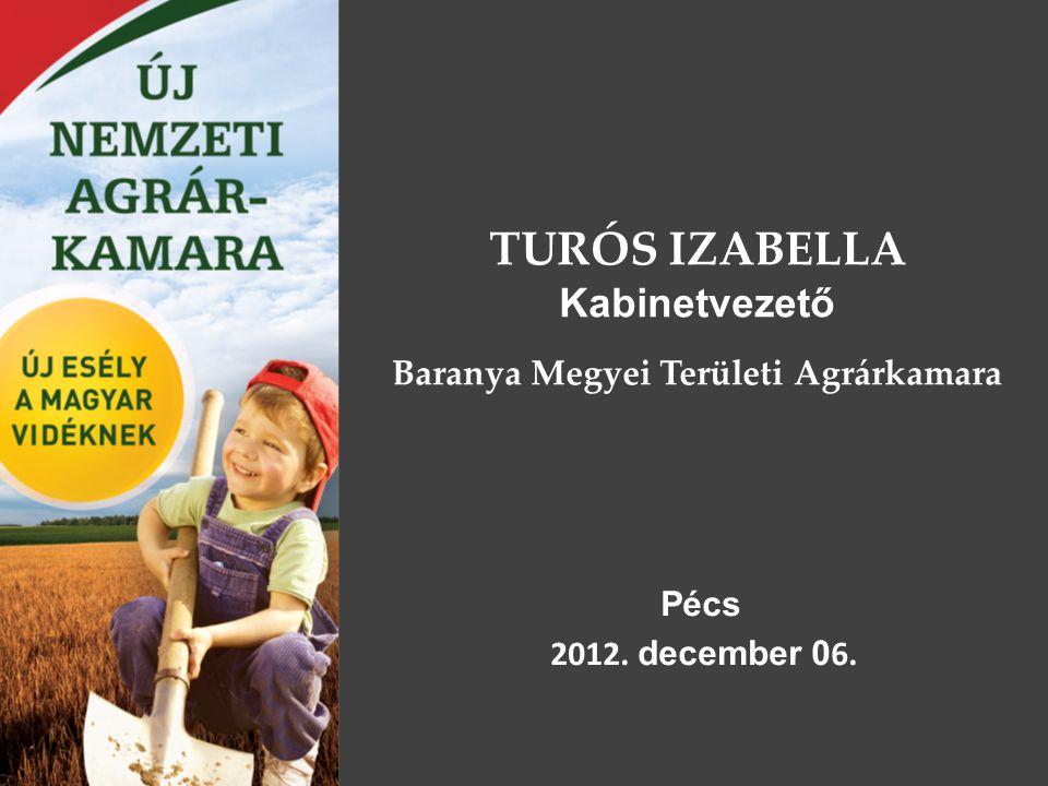 TURÓS IZABELLA Kabinetvezető Baranya Megyei Területi Agrárkamara Pécs 2012. december 0 6.