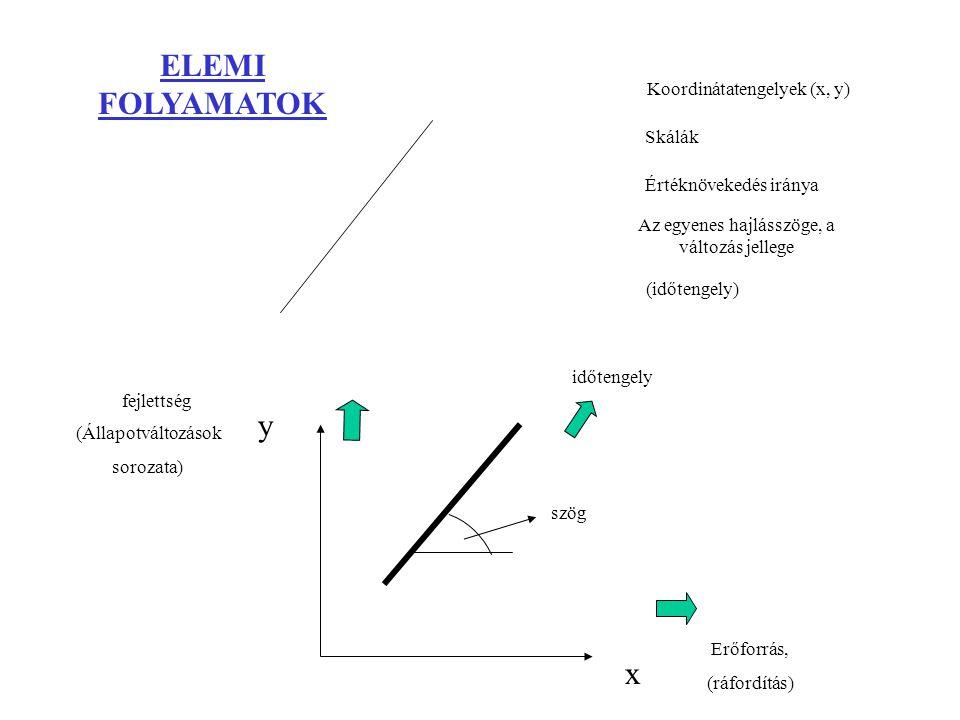 ELEMI FOLYAMATOK x y fejlettség Erőforrás, (ráfordítás) Az egyenes hajlásszöge, a változás jellege (Állapotváltozások sorozata) Értéknövekedés iránya Skálák Koordinátatengelyek (x, y) (időtengely) szög időtengely