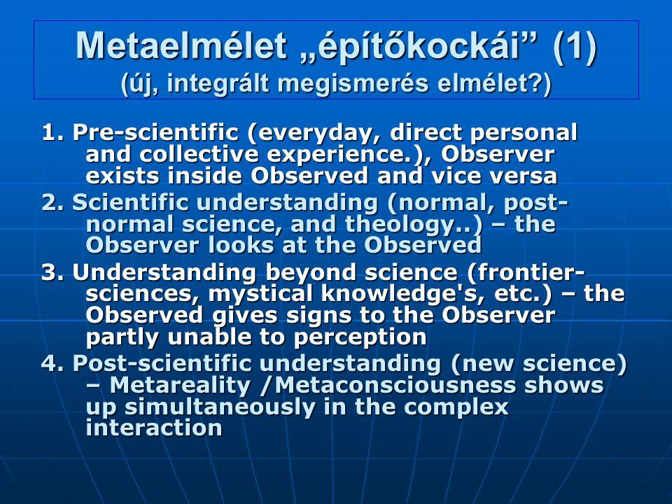 """Metaelmélet """"építőkockái"""" (1) (új, integrált megismerés elmélet?) 1. Pre-scientific (everyday, direct personal and collective experience.), Observer e"""
