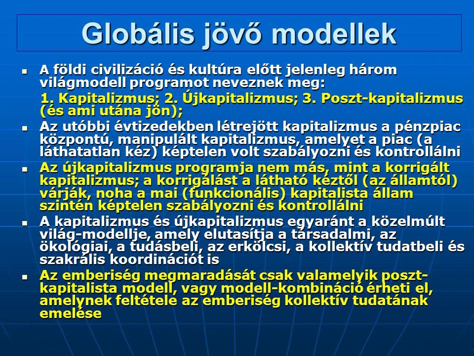 Globális jövő modellek A földi civilizáció és kultúra előtt jelenleg három világmodell programot neveznek meg: A földi civilizáció és kultúra előtt je