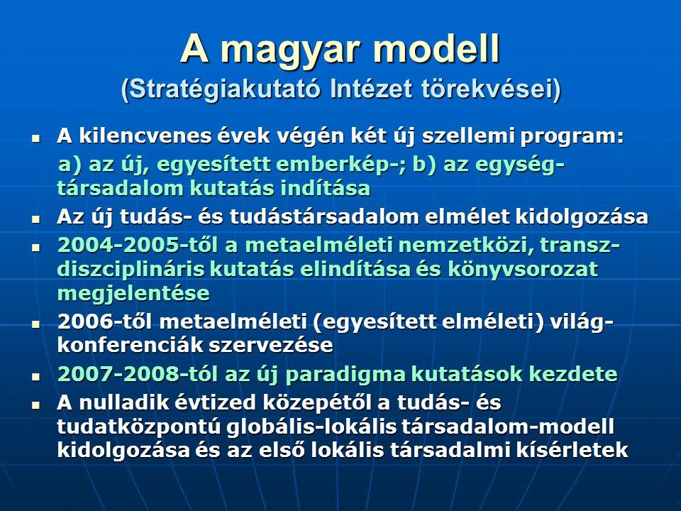 A magyar modell (Stratégiakutató Intézet törekvései) A kilencvenes évek végén két új szellemi program: A kilencvenes évek végén két új szellemi progra