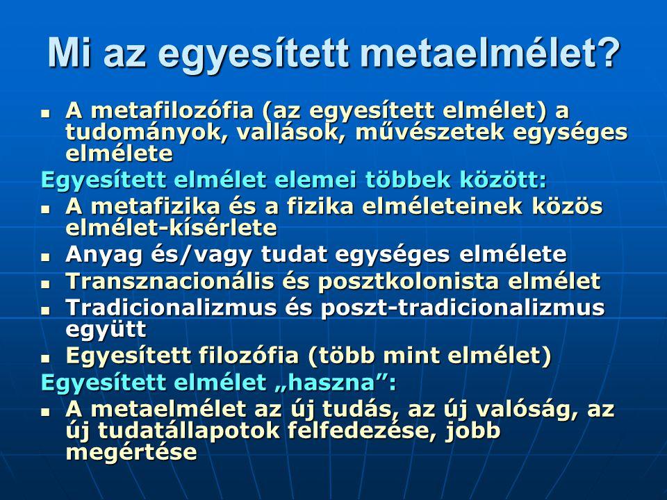 Mi az egyesített metaelmélet? A metafilozófia (az egyesített elmélet) a tudományok, vallások, művészetek egységes elmélete A metafilozófia (az egyesít
