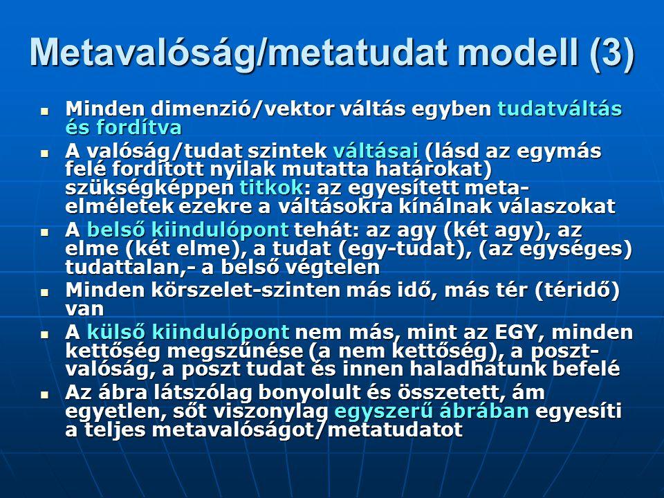 Metaelméleti példák: 1, 2, 3, A metaelmélet megértéséhez nézzünk meg néhány alapvető összefüggést: A metaelmélet megértéséhez nézzünk meg néhány alapvető összefüggést: A) Metaember (a sokdimenziós egyén) és a személyes metatudat értelmezésének alternatíváit A) Metaember (a sokdimenziós egyén) és a személyes metatudat értelmezésének alternatíváit B) Metatársadalom (a sokdimenziós társadalom) és a kollektív metatudat értelmezésének alternatíváit B) Metatársadalom (a sokdimenziós társadalom) és a kollektív metatudat értelmezésének alternatíváit C) Metaelmélet építőkockái (egyben a megismerés elmélet kitágítása) C) Metaelmélet építőkockái (egyben a megismerés elmélet kitágítása)