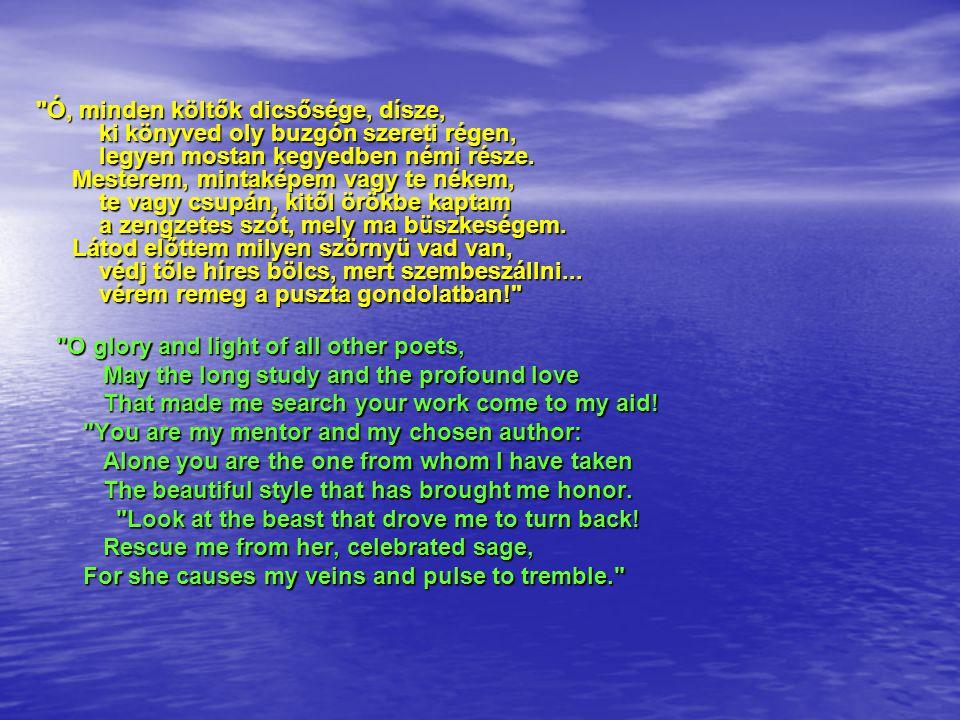 Ó, minden költők dicsősége, dísze, ki könyved oly buzgón szereti régen, legyen mostan kegyedben némi része.