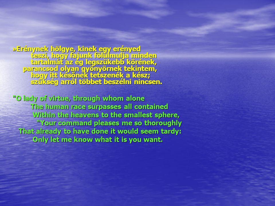 » Erénynek hölgye, kinek egy erényed teszi, hogy fajunk fölülmulja minden tartalmát az ég legszükebb körének, parancsod olyan gyönyörnek tekintem, hogy itt későnek tetszenék a kész; szükség arról többet beszélni nincsen.