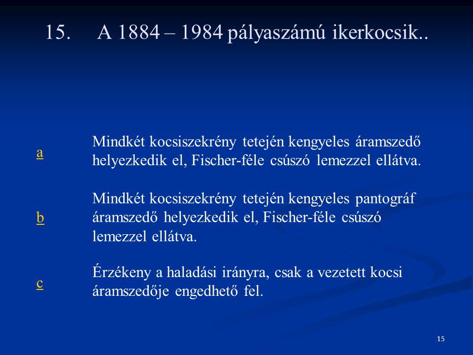 15. A 1884 – 1984 pályaszámú ikerkocsik.. a Mindkét kocsiszekrény tetején kengyeles áramszedő helyezkedik el, Fischer-féle csúszó lemezzel ellátva. b