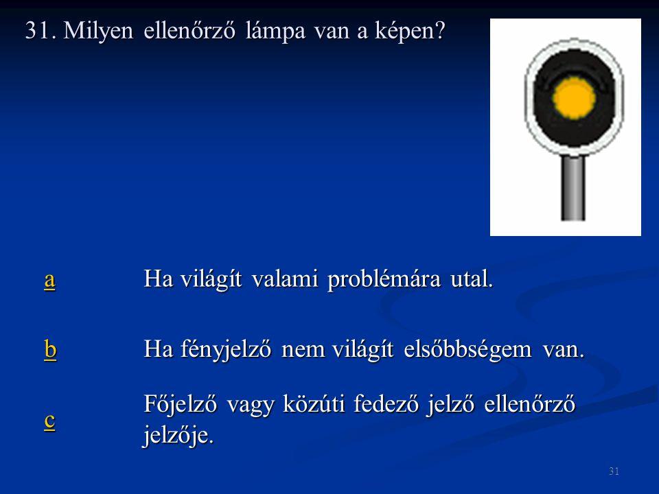 31. Milyen ellenőrző lámpa van a képen? aaaa Ha világít valami problémára utal. bbbb Ha fényjelző nem világít elsőbbségem van. cccc Főjelző vagy közút
