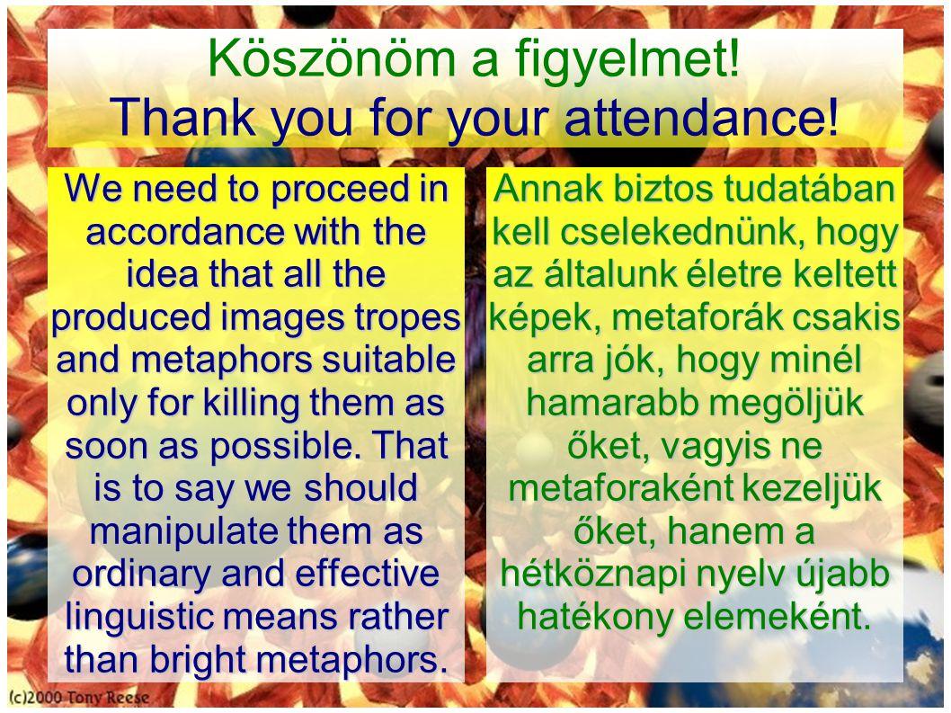 Köszönöm a figyelmet. Thank you for your attendance.