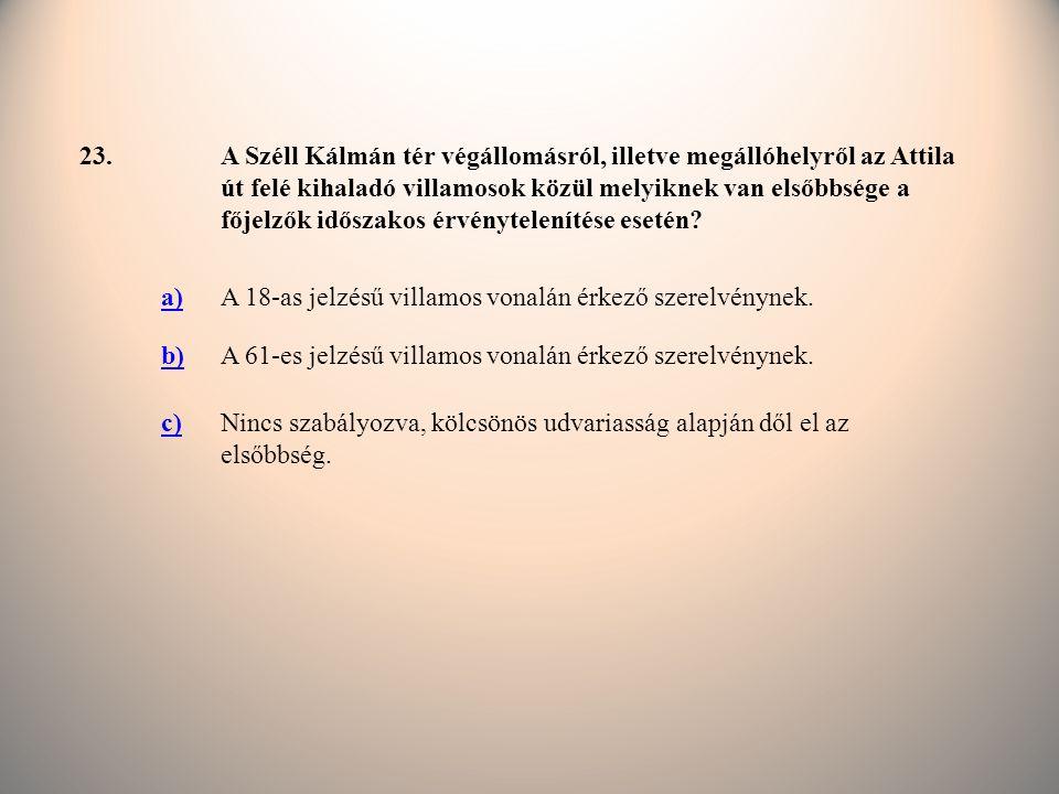 23.A Széll Kálmán tér végállomásról, illetve megállóhelyről az Attila út felé kihaladó villamosok közül melyiknek van elsőbbsége a főjelzők időszakos érvénytelenítése esetén.