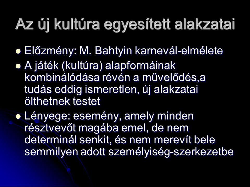 Az új kultúra egyesített alakzatai Előzmény: M. Bahtyin karnevál-elmélete Előzmény: M.