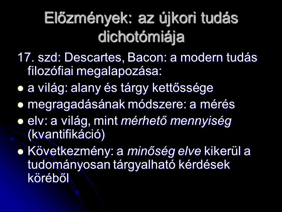 Előzmények: az újkori tudás dichotómiája 17.