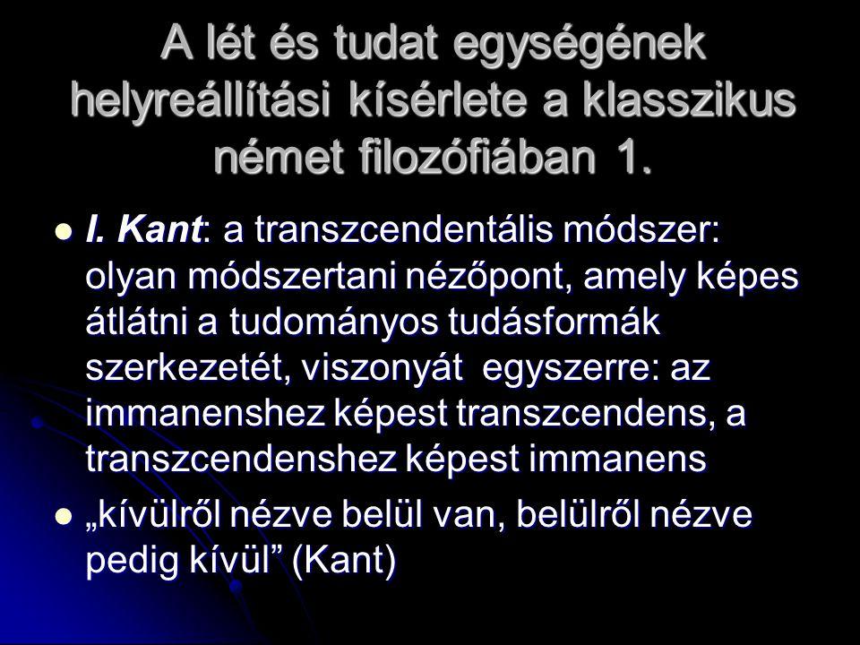 A lét és tudat egységének helyreállítási kísérlete a klasszikus német filozófiában 1.