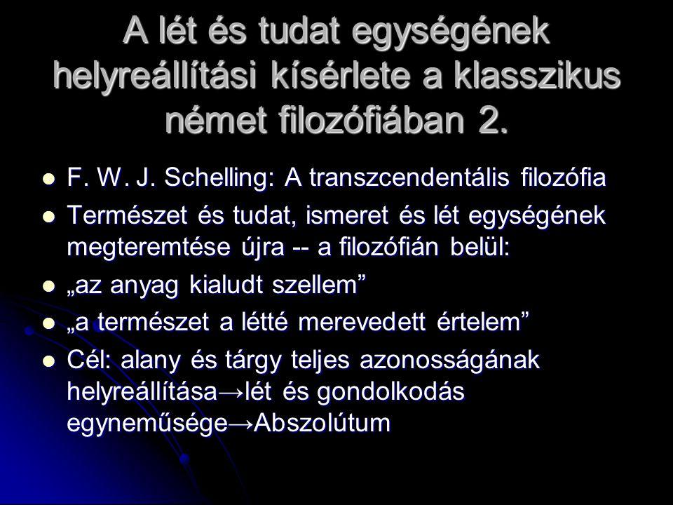 A lét és tudat egységének helyreállítási kísérlete a klasszikus német filozófiában 2.