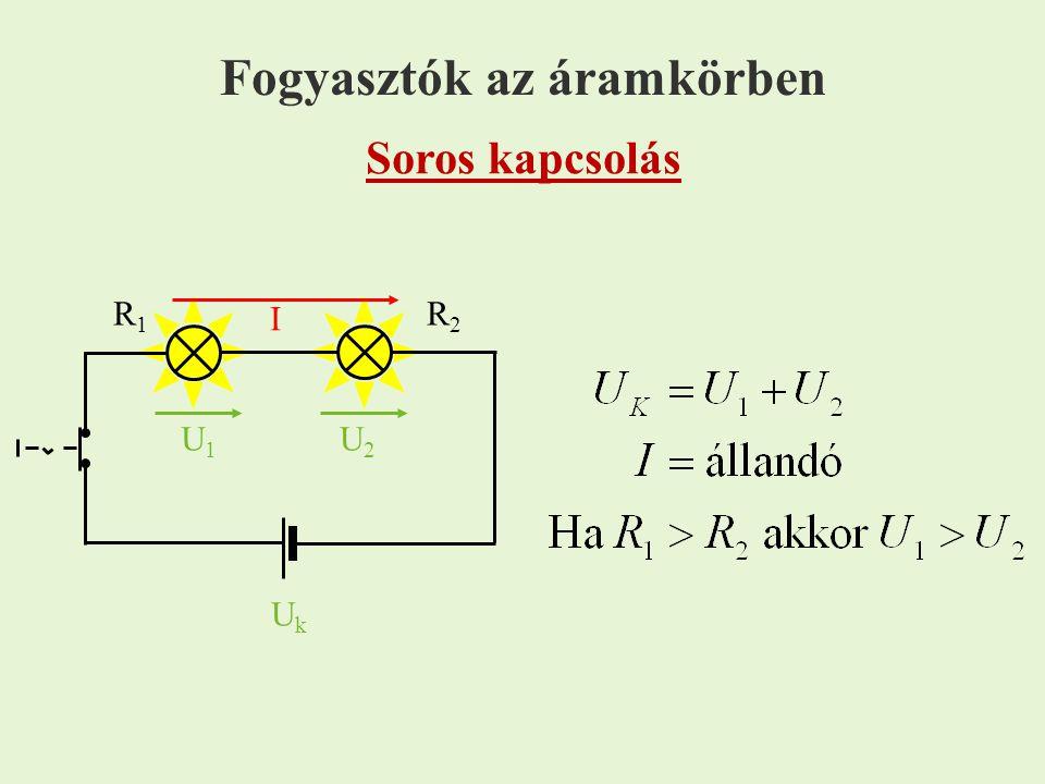 főág Párhuzamos kapcsolás mellékág UkUk I U1U1 U2U2 I1I1 I2I2 csomópont R1R1 R2R2