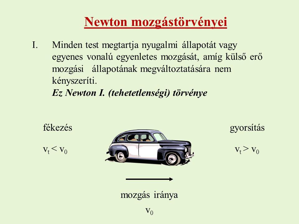 Newton mozgástörvényei I.Minden test megtartja nyugalmi állapotát vagy egyenes vonalú egyenletes mozgását, amíg külső erő mozgási állapotának megválto