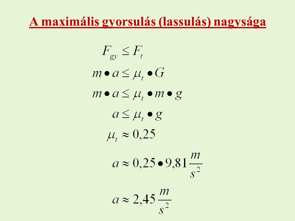 A maximális gyorsulás (lassulás) nagysága