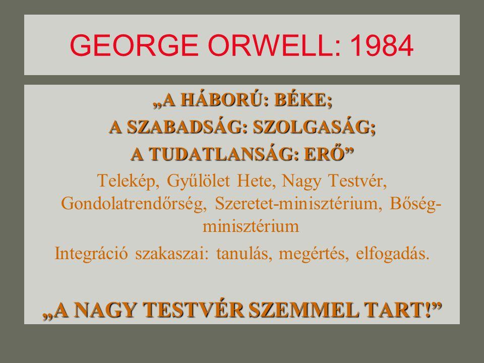 """GEORGE ORWELL: 1984 """"A HÁBORÚ: BÉKE; A SZABADSÁG: SZOLGASÁG; A TUDATLANSÁG: ERŐ Telekép, Gyűlölet Hete, Nagy Testvér, Gondolatrendőrség, Szeretet-minisztérium, Bőség- minisztérium Integráció szakaszai: tanulás, megértés, elfogadás."""