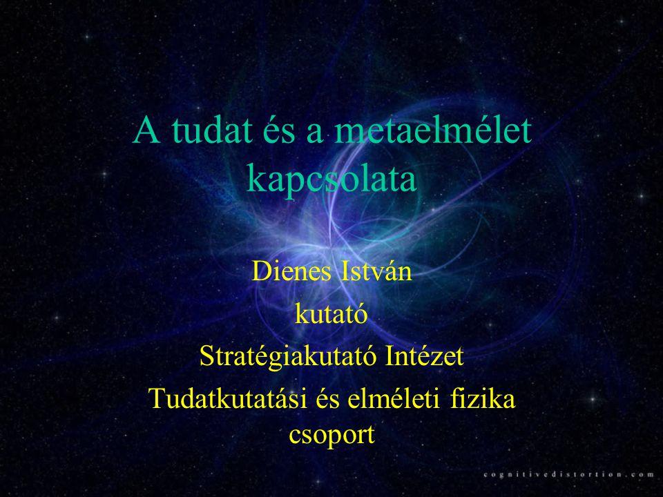 A tudat és a metaelmélet kapcsolata Dienes István kutató Stratégiakutató Intézet Tudatkutatási és elméleti fizika csoport
