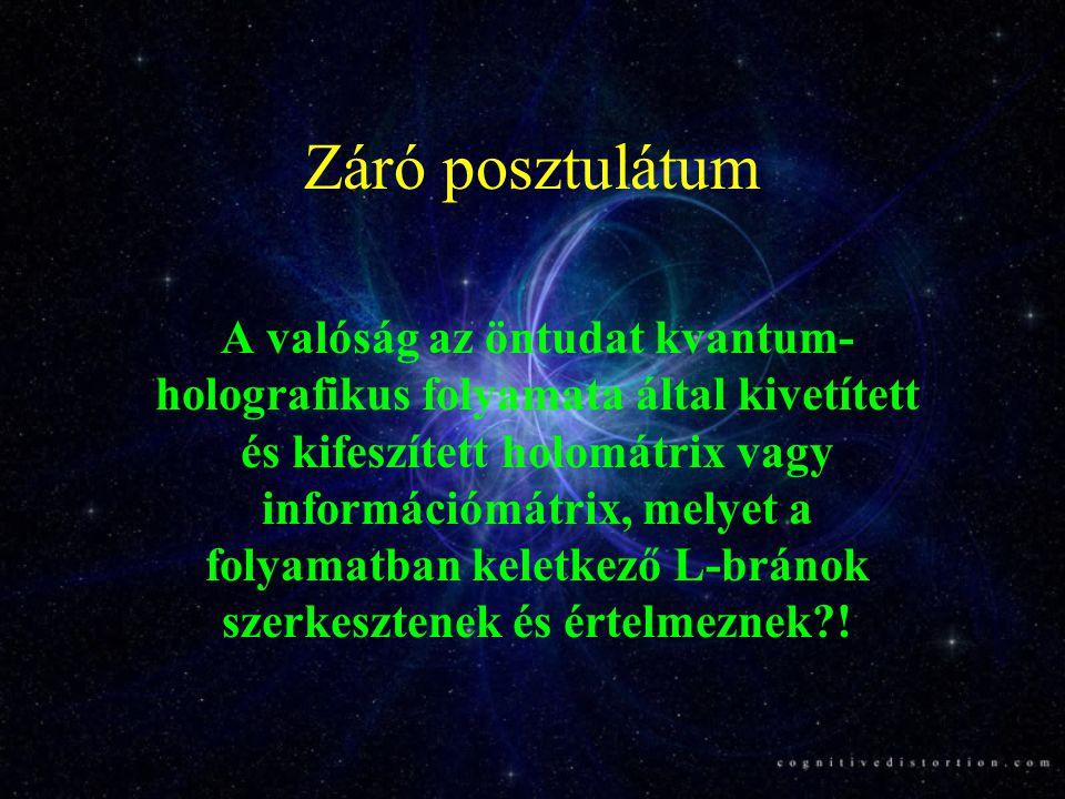 Záró posztulátum A valóság az öntudat kvantum- holografikus folyamata által kivetített és kifeszített holomátrix vagy információmátrix, melyet a folya