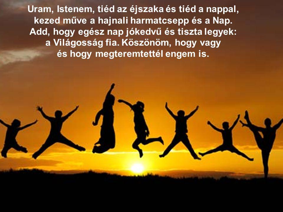 Uram, Istenem, tiéd az éjszaka és tiéd a nappal, kezed műve a hajnali harmatcsepp és a Nap.