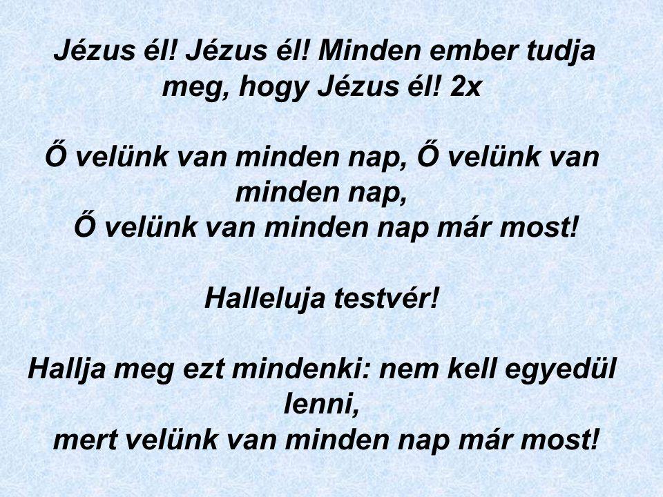 Jézus él! Jézus él! Minden ember tudja meg, hogy Jézus él! 2x Ő velünk van minden nap, Ő velünk van minden nap, Ő velünk van minden nap már most! Hall