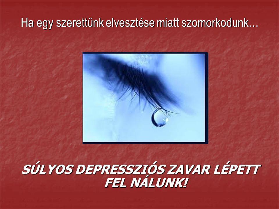 Ha egy szerettünk elvesztése miatt szomorkodunk… SÚLYOS DEPRESSZIÓS ZAVAR LÉPETT FEL NÁLUNK!
