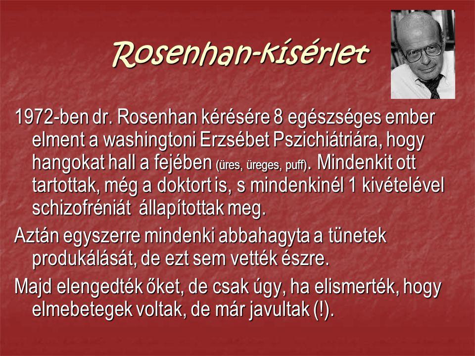 Rosenhan-kísérlet 1972-ben dr. Rosenhan kérésére 8 egészséges ember elment a washingtoni Erzsébet Pszichiátriára, hogy hangokat hall a fejében (üres,