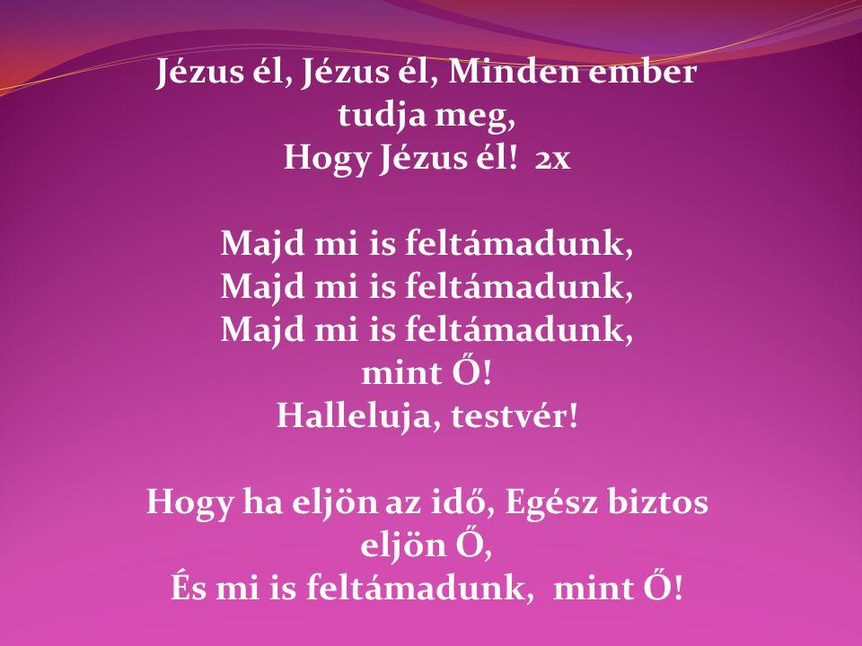 Jézus él, Jézus él, Minden ember tudja meg, Hogy Jézus él! 2x Majd mi is feltámadunk, mint Ő! Halleluja, testvér! Hogy ha eljön az idő, Egész biztos e