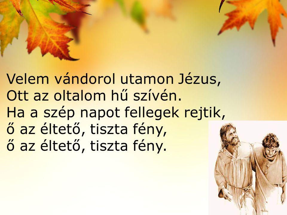 Velem vándorol utamon Jézus, Ott az oltalom hű szívén. Ha a szép napot fellegek rejtik, ő az éltető, tiszta fény, ő az éltető, tiszta fény.