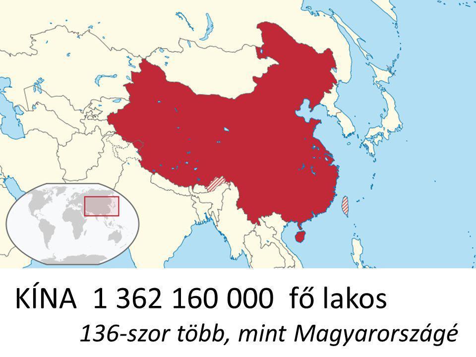KÍNA 1 362 160 000 fő lakos 136-szor több, mint Magyarországé