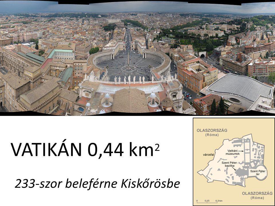 VATIKÁN 0,44 km 2 233-szor beleférne Kiskőrösbe
