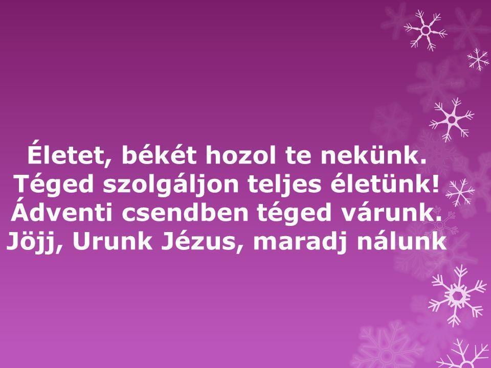 Életet, békét hozol te nekünk. Téged szolgáljon teljes életünk! Ádventi csendben téged várunk. Jöjj, Urunk Jézus, maradj nálunk