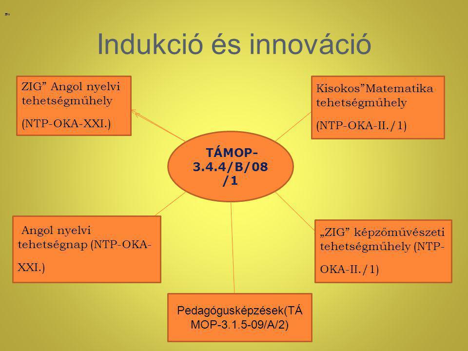 """Indukció és innováció TÁMOP- 3.4.4/B/08 /1 Kisokos Matematika tehetségműhely (NTP-OKA-II./1) """" """"ZIG képzőművészeti tehetségműhely (NTP- OKA-II./1) """" ZIG Angol nyelvi tehetségműhely (NTP-OKA-XXI.) """" Angol nyelvi tehetségnap (NTP-OKA- XXI.) Pedagógusképzések(TÁ MOP-3.1.5-09/A/2)"""