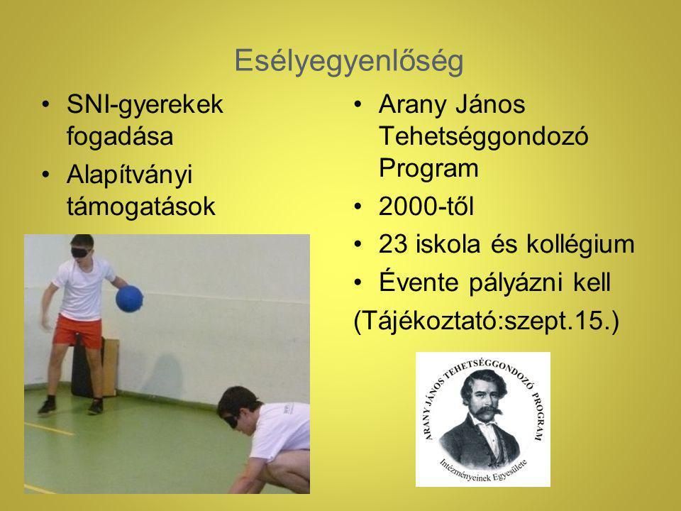 Esélyegyenlőség SNI-gyerekek fogadása Alapítványi támogatások Arany János Tehetséggondozó Program 2000-től 23 iskola és kollégium Évente pályázni kell (Tájékoztató:szept.15.)