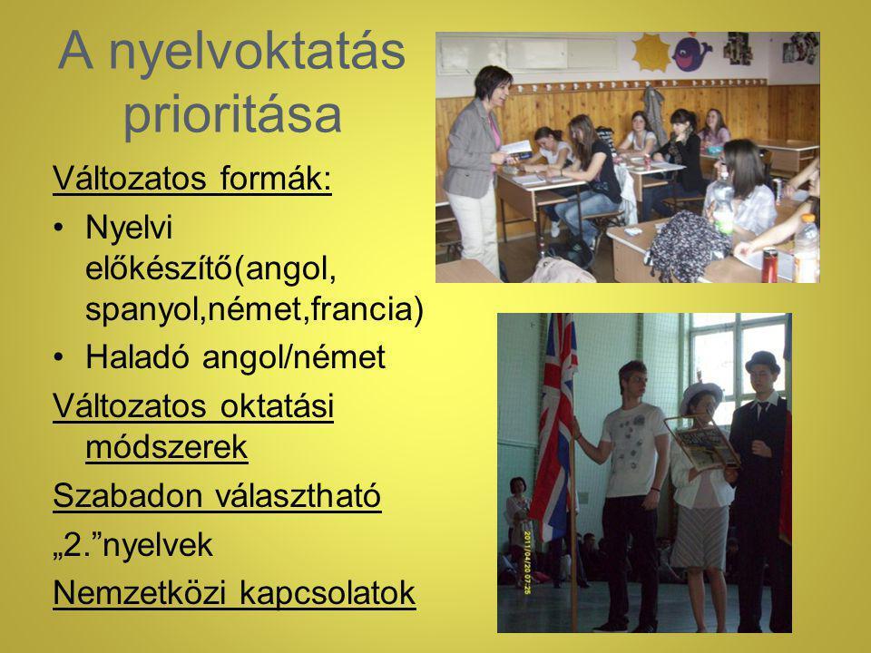 """A nyelvoktatás prioritása Változatos formák: Nyelvi előkészítő(angol, spanyol,német,francia) Haladó angol/német Változatos oktatási módszerek Szabadon választható """"2. nyelvek Nemzetközi kapcsolatok"""