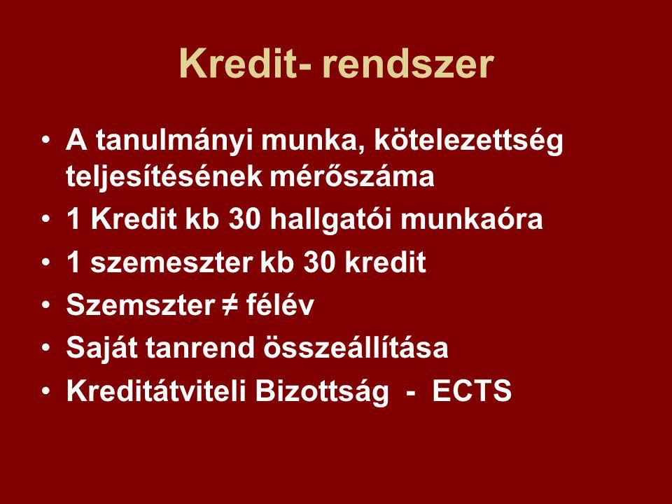 Kredit- rendszer A tanulmányi munka, kötelezettség teljesítésének mérőszáma 1 Kredit kb 30 hallgatói munkaóra 1 szemeszter kb 30 kredit Szemszter ≠ fé
