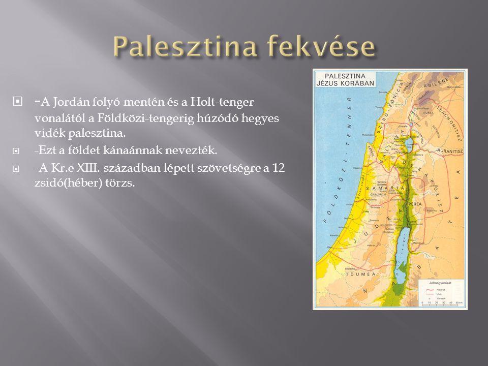  - A Jordán folyó mentén és a Holt-tenger vonalától a Földközi-tengerig húzódó hegyes vidék palesztina.  -Ezt a földet kánaánnak nevezték.  -A Kr.e