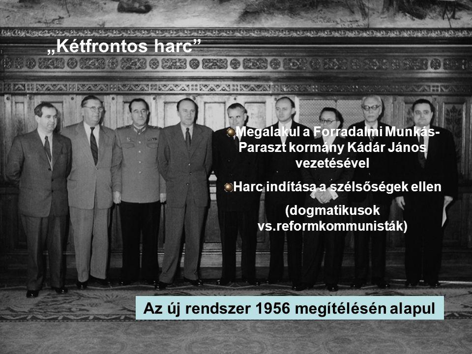 """Megalakul a Forradalmi Munkás- Paraszt kormány Kádár János vezetésével Harc indítása a szélsőségek ellen (dogmatikusok vs.reformkommunisták) """"Kétfront"""