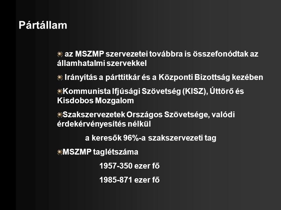 Pártállam az MSZMP szervezetei továbbra is összefonódtak az államhatalmi szervekkel Irányítás a párttitkár és a Központi Bizottság kezében Kommunista