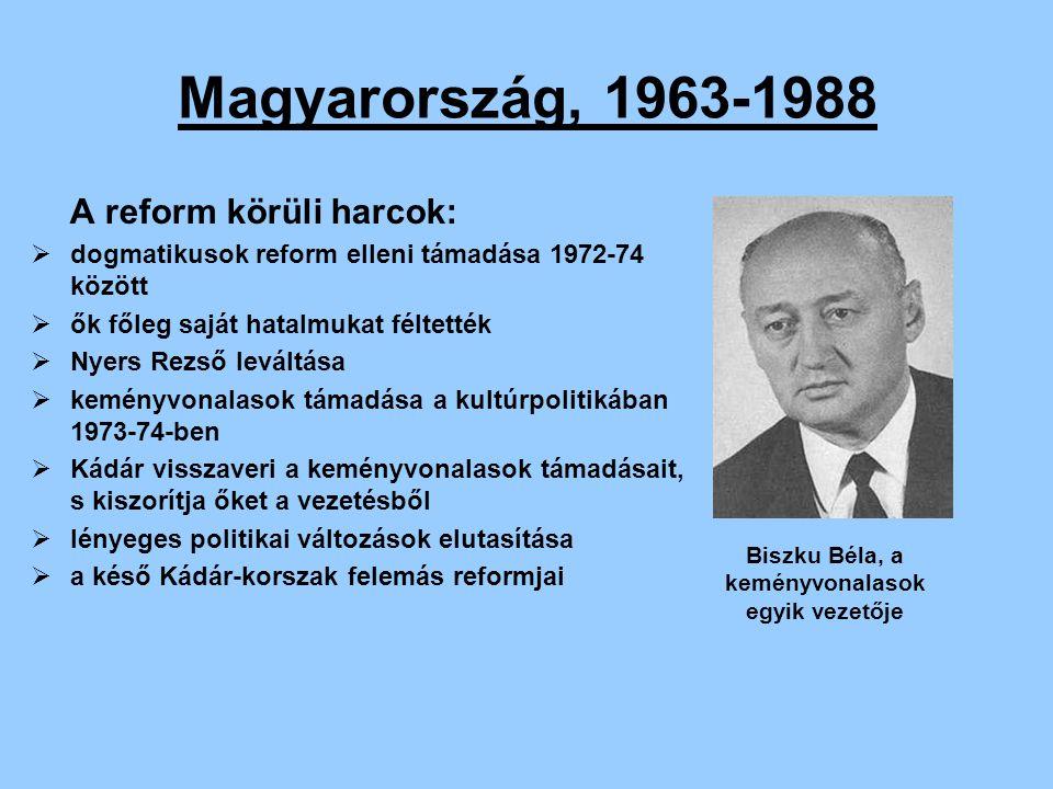 Magyarország, 1963-1988 Gazdasági válság:  a bizakodás ellenére a válság a 70-es évek végére eléri az országot  az olaj világpiaci ára megnő,ami súlyos gazdasági terheket jelentett  cserearány-romlás, adósságspirál  Kádár szovjet neheztelést kiváltó, pénzügyi összeomlást elkerülő lépése 1981-ben  gazdaság átmeneti javulása negatívan érintette volna az életszínvonalat és a foglalkoztatottságot  ezt a vezetők elutasítják magyar gazdaság válsága.