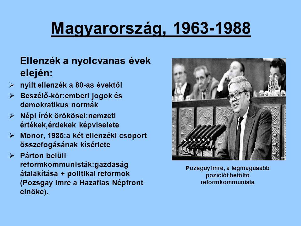 Magyarország, 1963-1988 Ellenzék a nyolcvanas évek elején:  nyílt ellenzék a 80-as évektől  Beszélő-kör:emberi jogok és demokratikus normák  Népi í