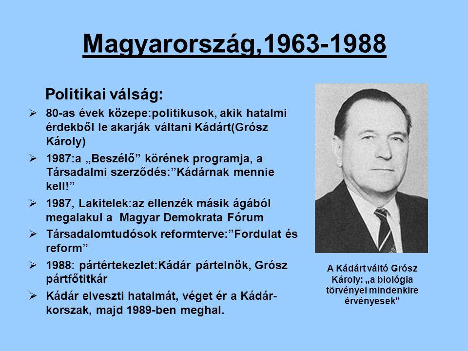 """Magyarország,1963-1988 Politikai válság:  80-as évek közepe:politikusok, akik hatalmi érdekből le akarják váltani Kádárt(Grósz Károly)  1987:a """"Besz"""