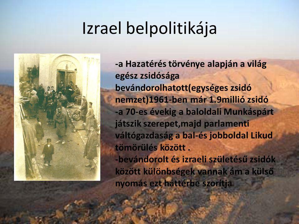 Izrael belpolitikája -a Hazatérés törvénye alapján a világ egész zsidósága bevándorolhatott(egységes zsidó nemzet)1961-ben már 1.9millió zsidó -a 70-e