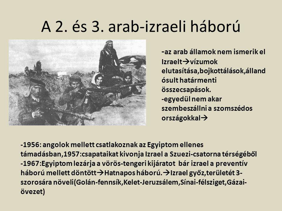 A 2. és 3. arab-izraeli háború - az arab államok nem ismerik el Izraelt  vízumok elutasítása,bojkottálások,álland ósult határmenti összecsapások. -eg