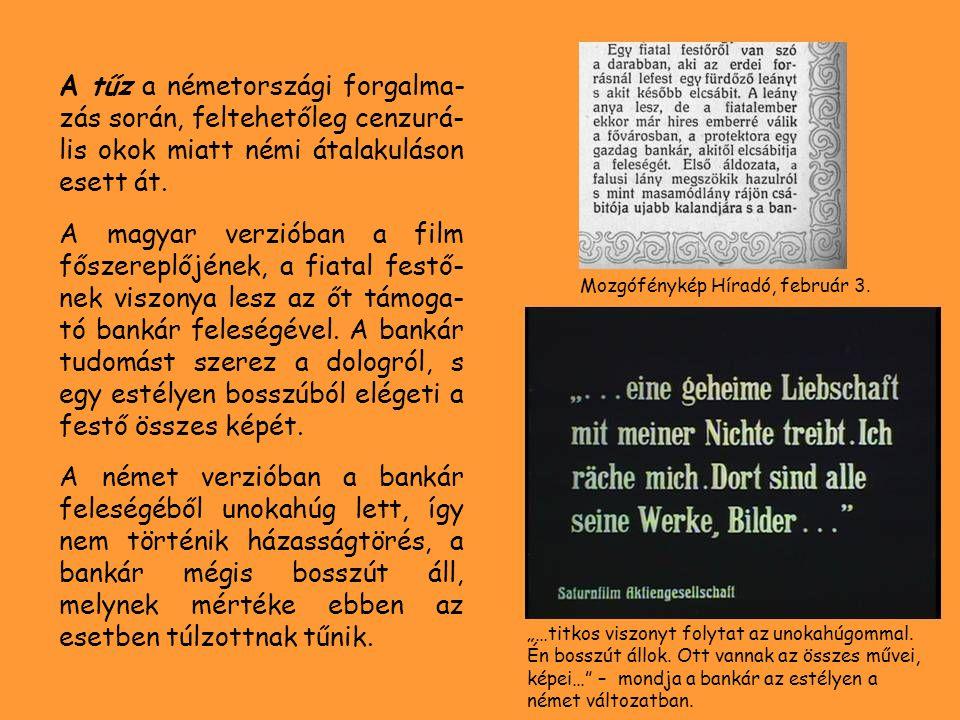 A tűz a németországi forgalma- zás során, feltehetőleg cenzurá- lis okok miatt némi átalakuláson esett át. A magyar verzióban a film főszereplőjének,