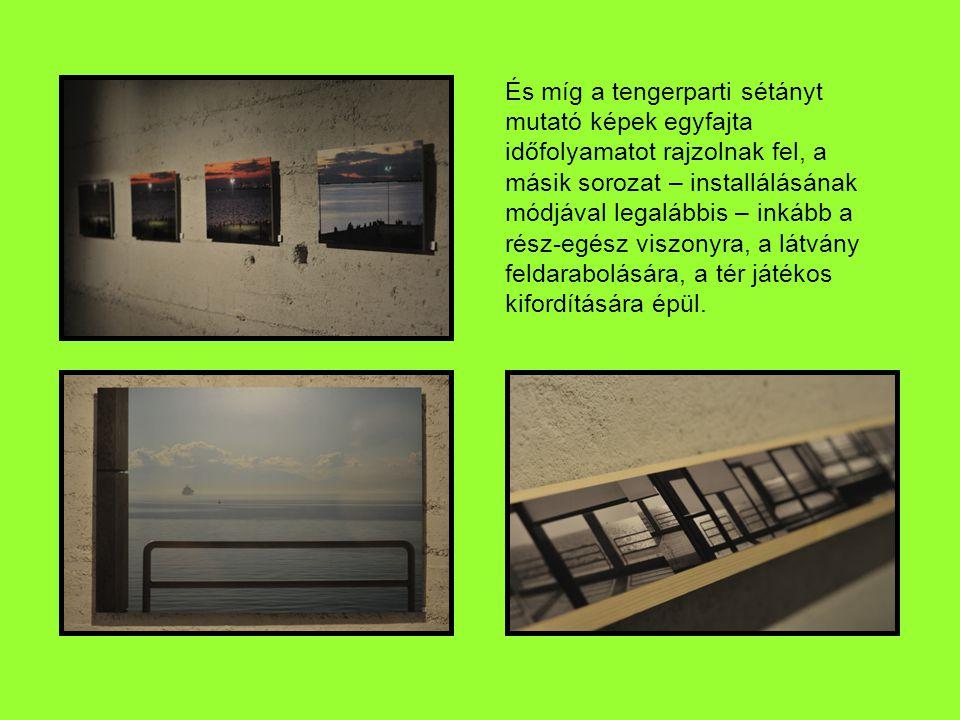 És míg a tengerparti sétányt mutató képek egyfajta időfolyamatot rajzolnak fel, a másik sorozat – installálásának módjával legalábbis – inkább a rész-egész viszonyra, a látvány feldarabolására, a tér játékos kifordítására épül.