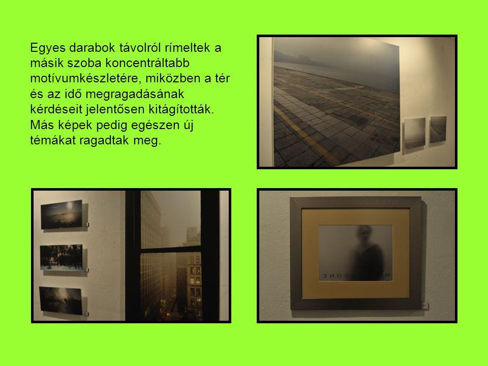 Egyes darabok távolról rímeltek a másik szoba koncentráltabb motívumkészletére, miközben a tér és az idő megragadásának kérdéseit jelentősen kitágították.