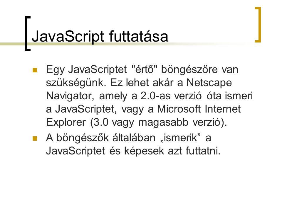 JavaScript – elágazások // JavaScript where=prompt( Where do you want to go today? ); switch(where){ case Microsoft : window.location= http://www.microsoft.com ; break; case Google : window.location= http://www.google.com ; break; case Mozilla : window.location= http://www.mozilla.org ; break; default: window.location= http://www.uni-pannon.hu ; } // JavaScript where=prompt( Where do you want to go today? ); switch(where){ case Microsoft : window.location= http://www.microsoft.com ; break; case Google : window.location= http://www.google.com ; break; case Mozilla : window.location= http://www.mozilla.org ; break; default: window.location= http://www.uni-pannon.hu ; } JS0205.js